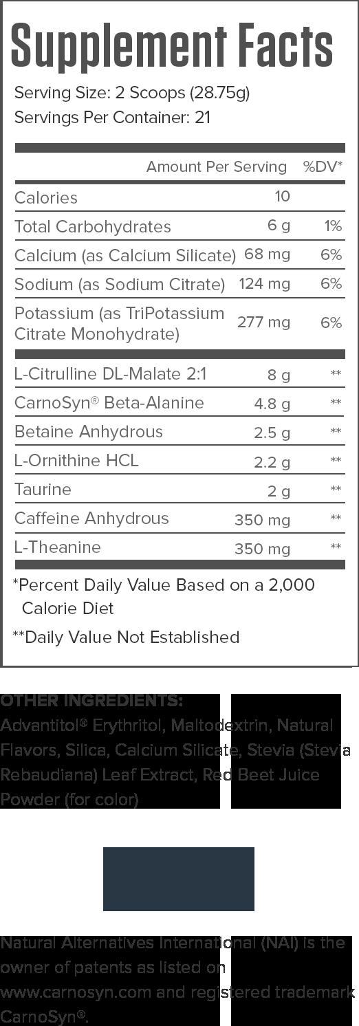 Pulse Pink Lemonade Supplement Facts