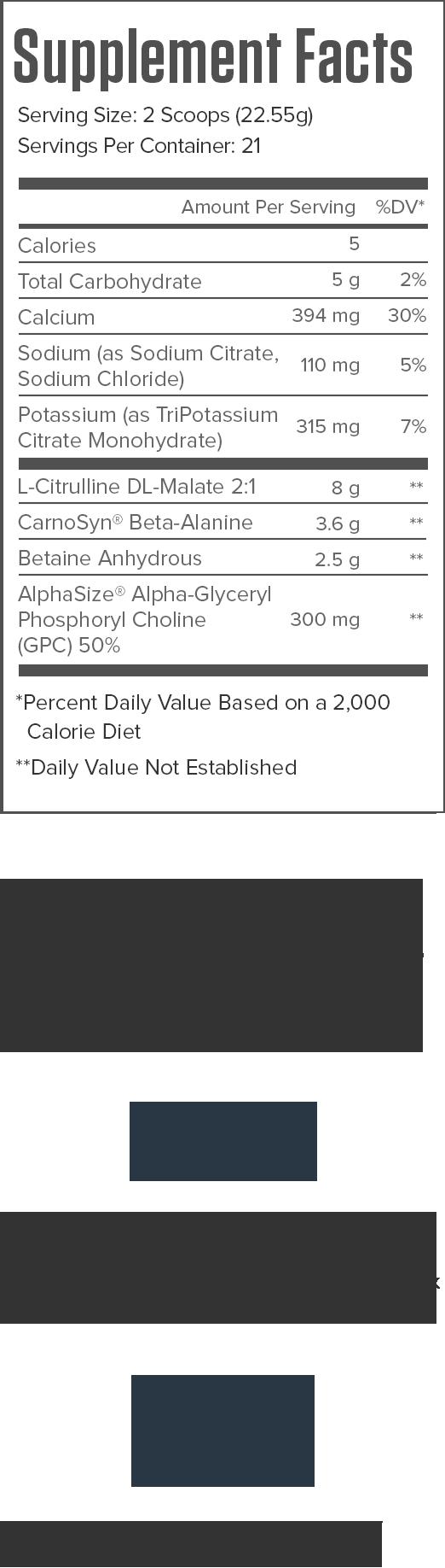 Pulse Stim-Free Blue Raspberry Supplement Facts