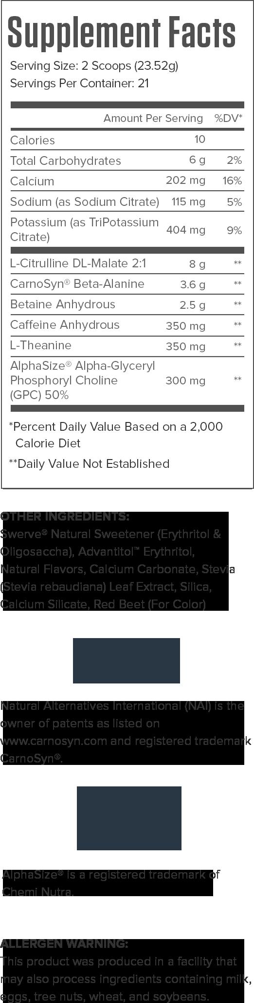 Pulse Wartermelon Supplement Facts