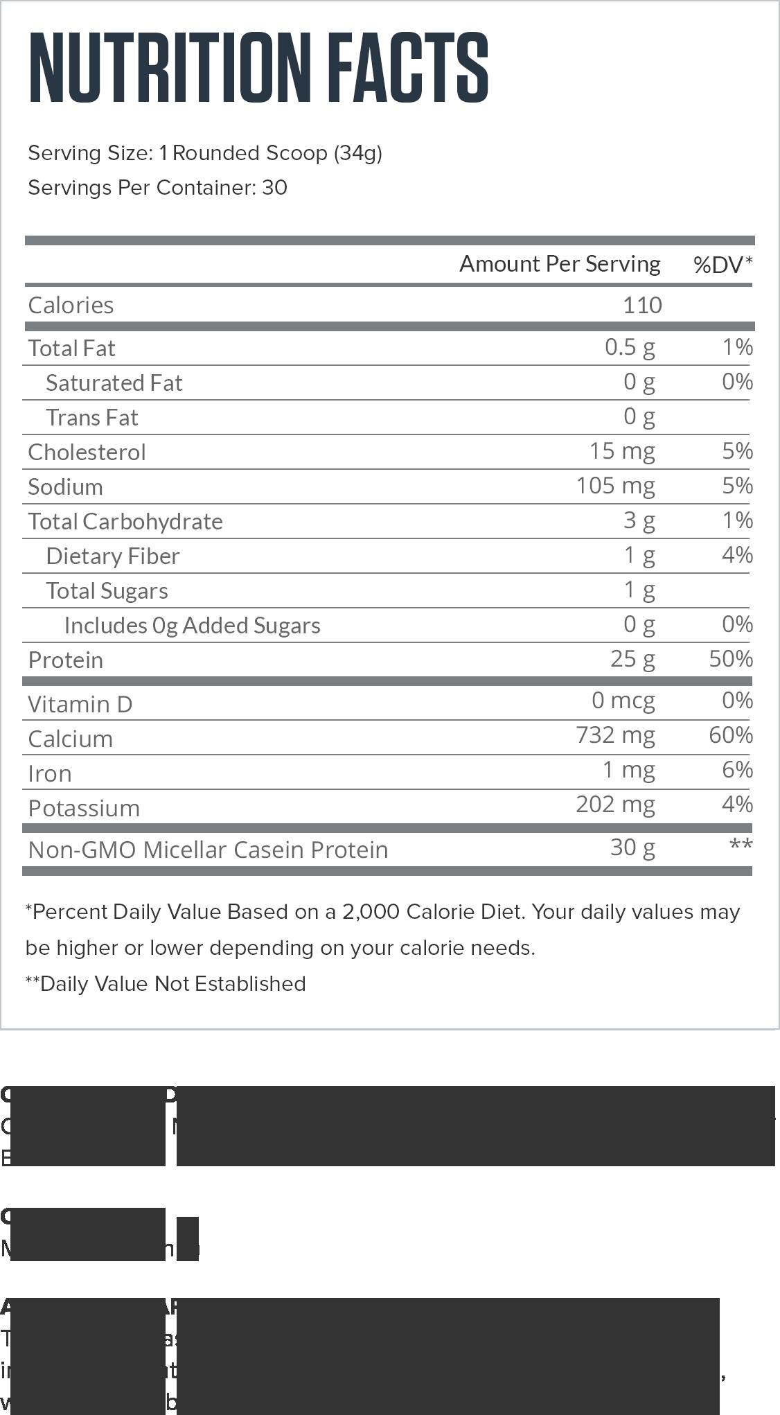 Casein+ Chocolate Supplement Facts